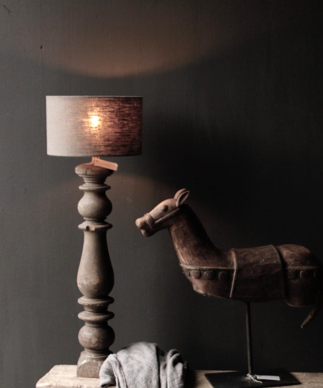 Prachtig Oude Houten lamp voet van Authentieke Baluster-1