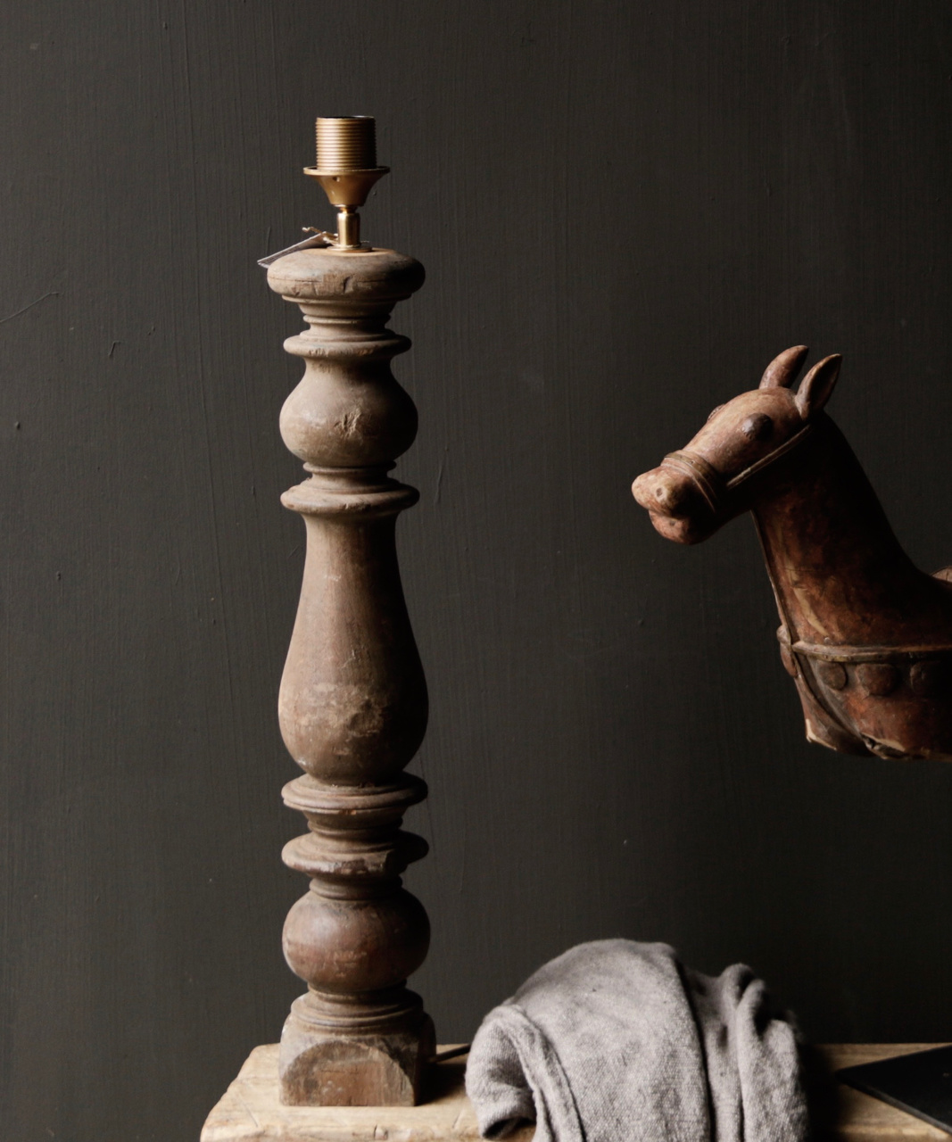 Beautiful Old Wooden lamp base from Authentic Baluster-2