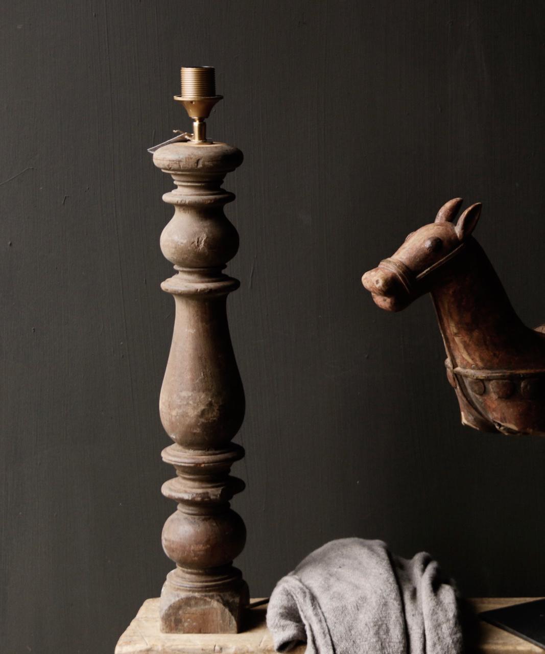 Prachtig Oude Houten lamp voet van Authentieke Baluster-2