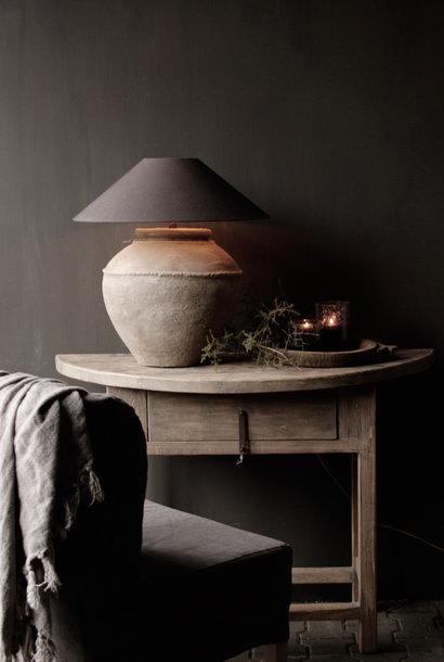 Halbrunder Wandtisch / Beistelltisch aus Altholz