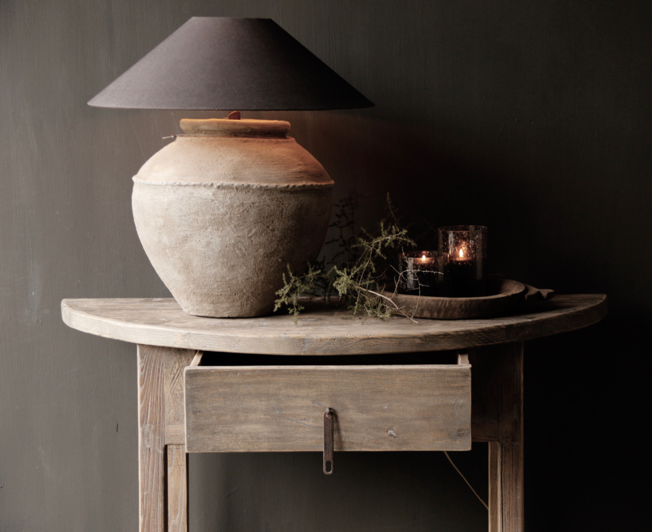 Half round wall table / Sidetable from old wood-2