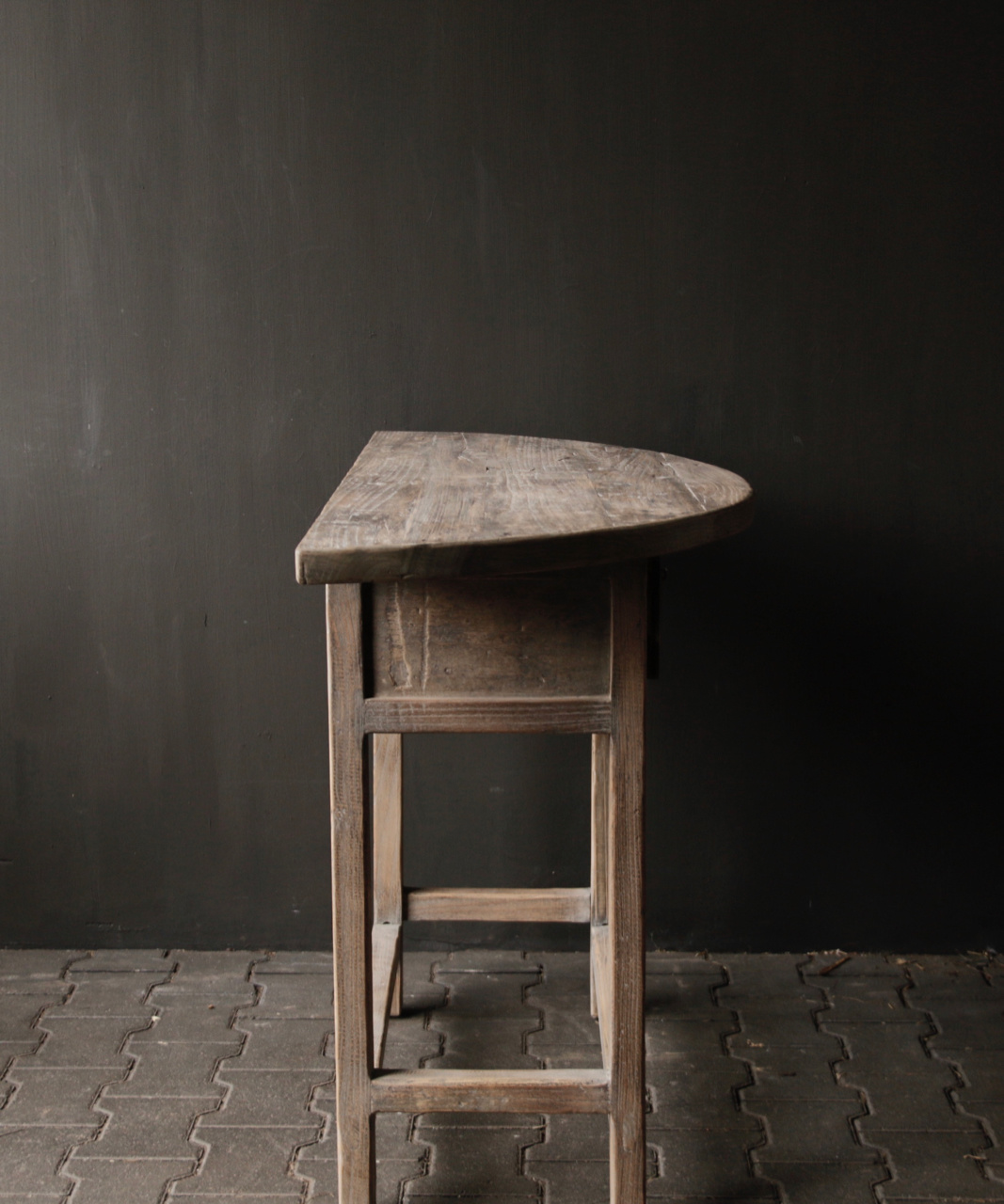 Half round wall table / Sidetable from old wood-3