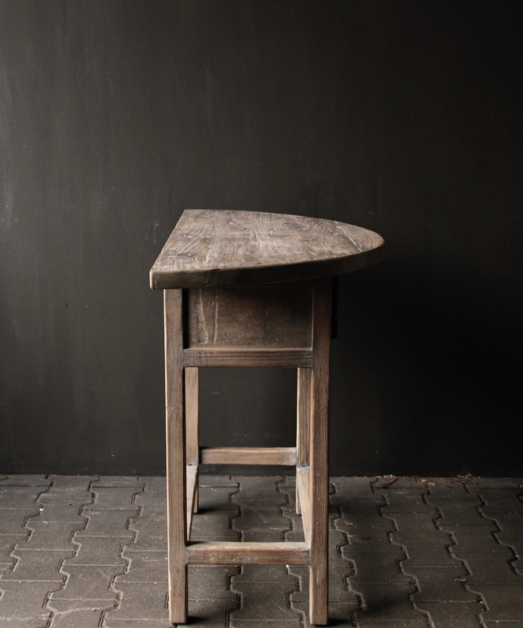 Half round wall table / Sidetable from old wood-4