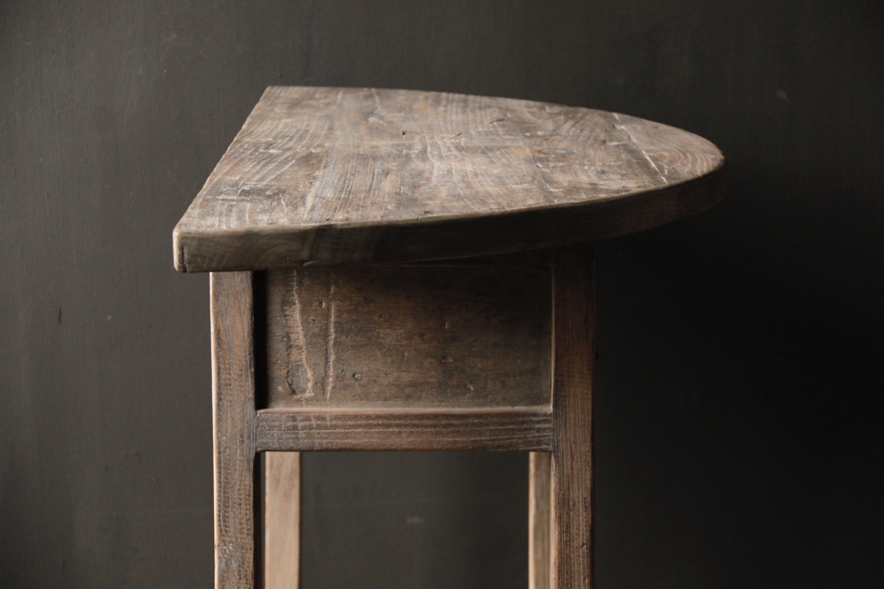 Half round wall table / Sidetable from old wood-5
