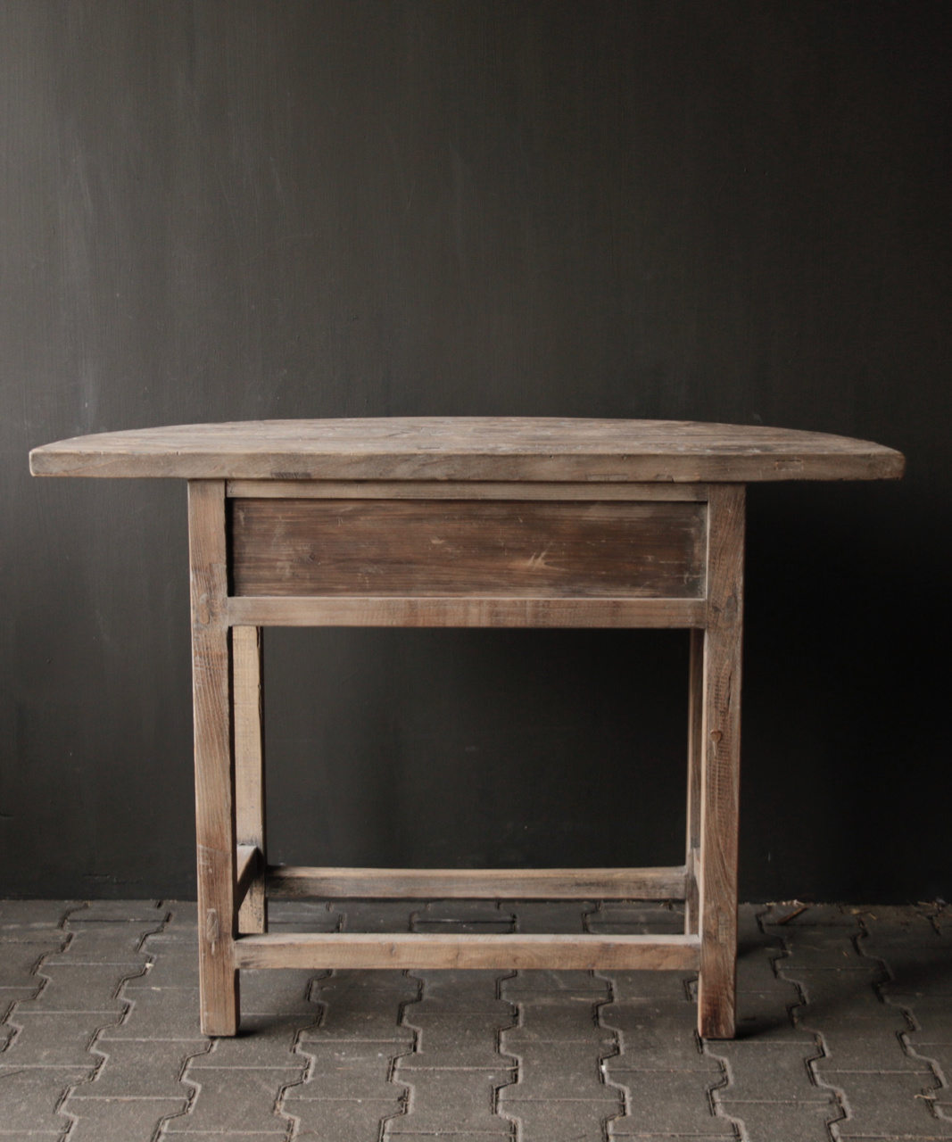 Half round wall table / Sidetable from old wood-6