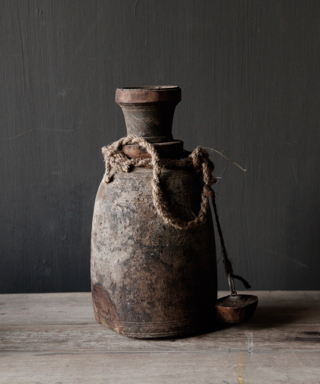 Old wooden Nepalese Jar with plug-3