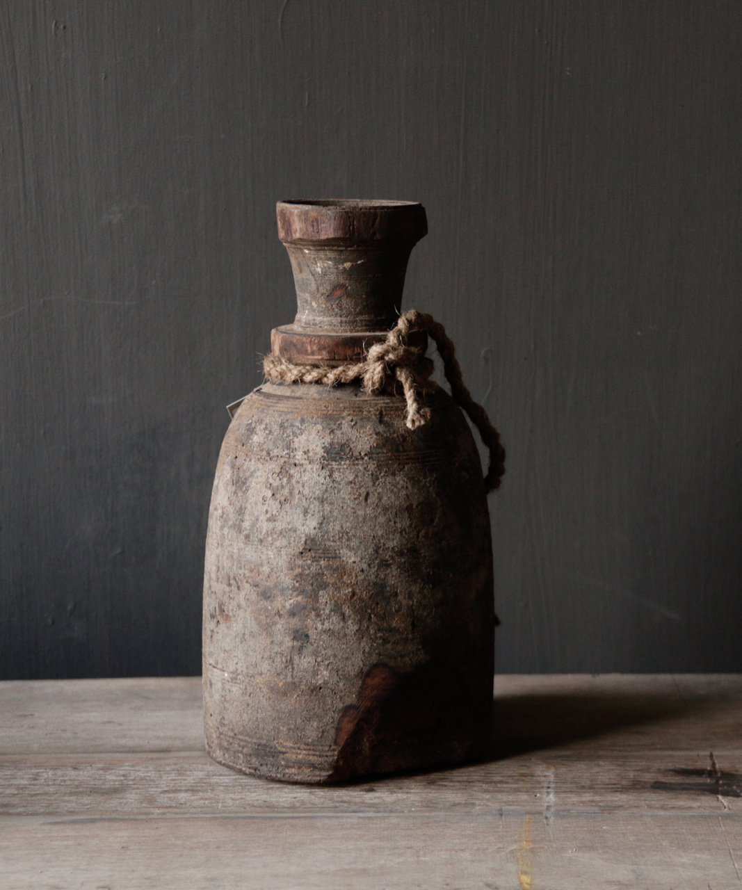 Old wooden Nepalese Jar with plug-5