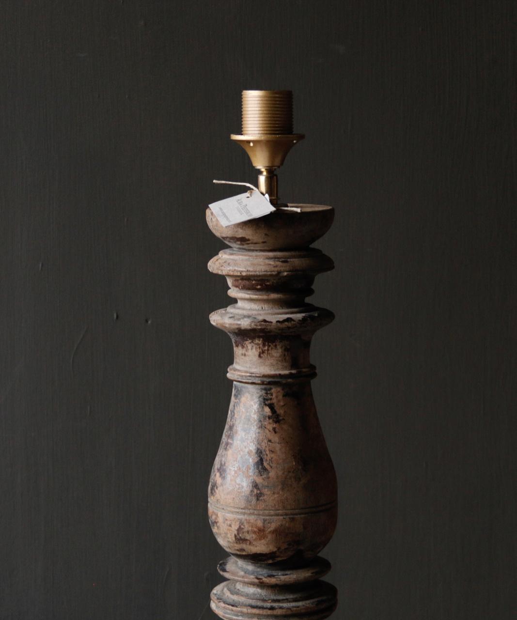 Prachtig Oude Houten lamp voet van Authentieke Baluster-5