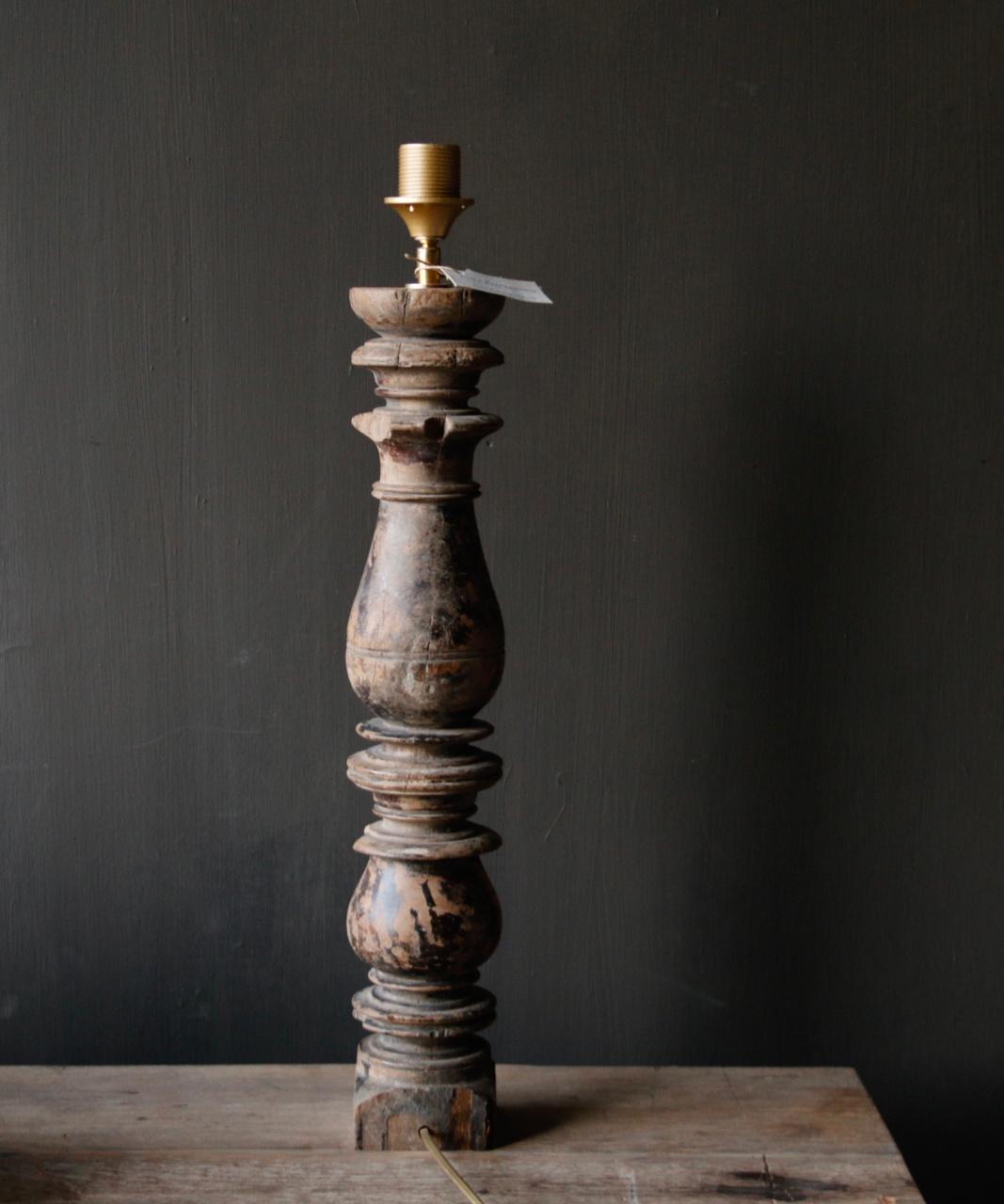 Prachtig Oude Houten lamp voet van Authentieke Baluster-6