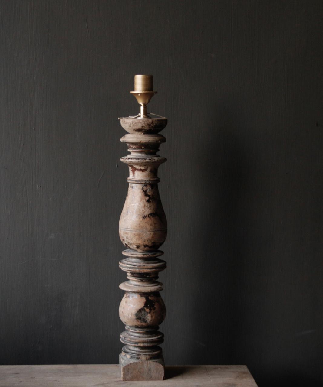 Prachtig Oude Houten lamp voet van Authentieke Baluster-7