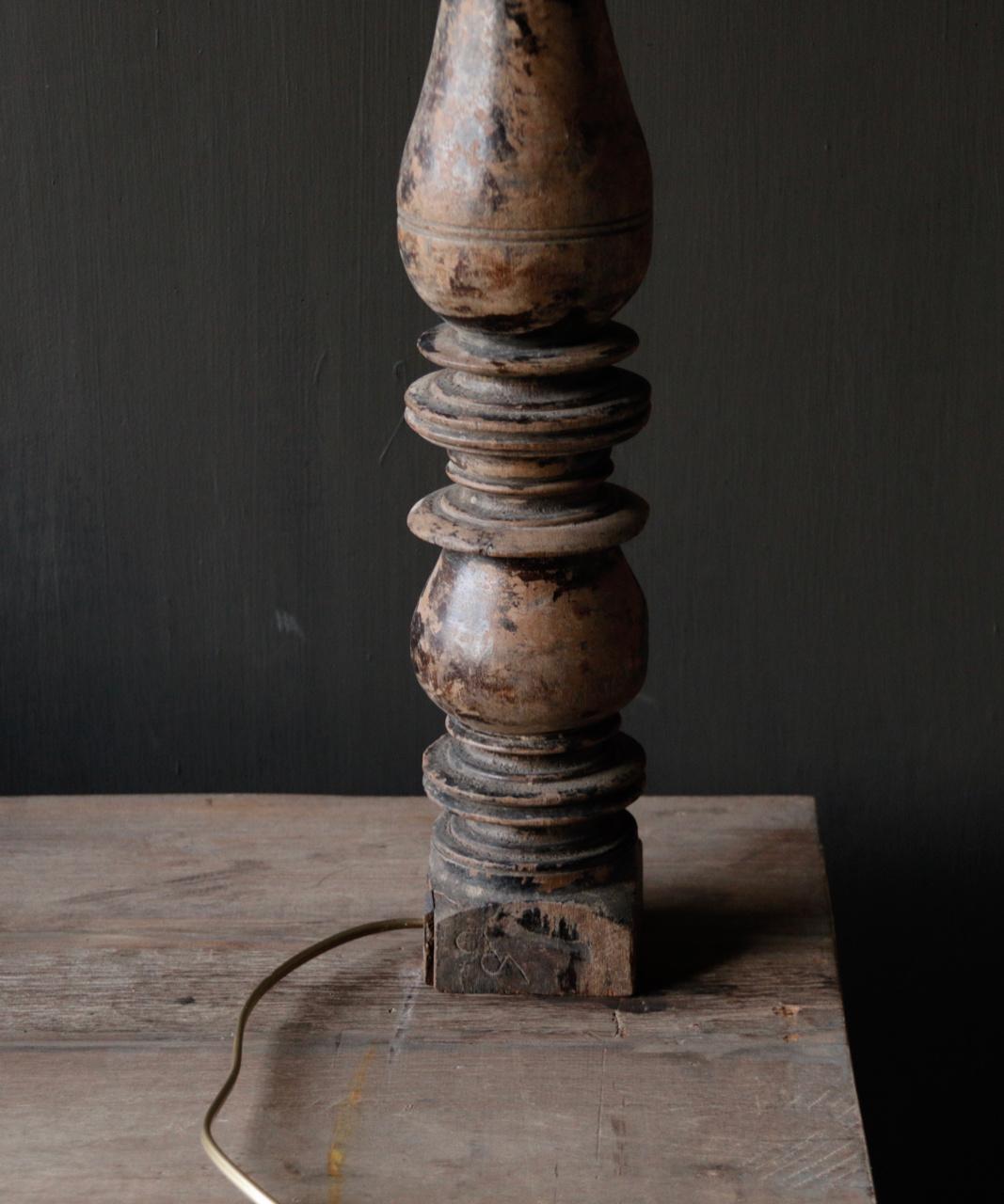 Prachtig Oude Houten lamp voet van Authentieke Baluster-8