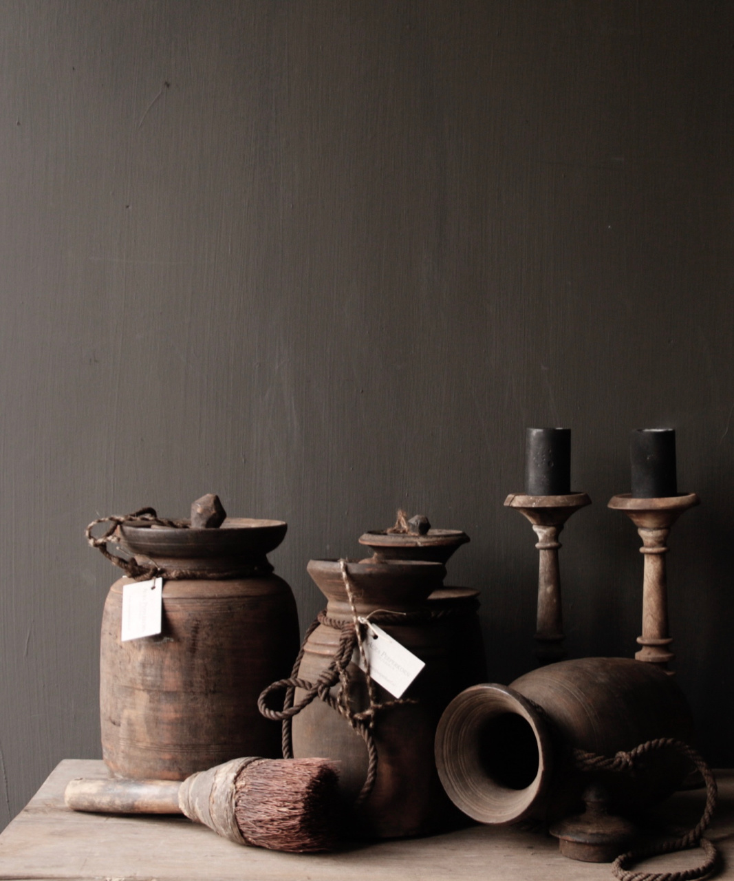 Old wooden Nepalese Jugs-1