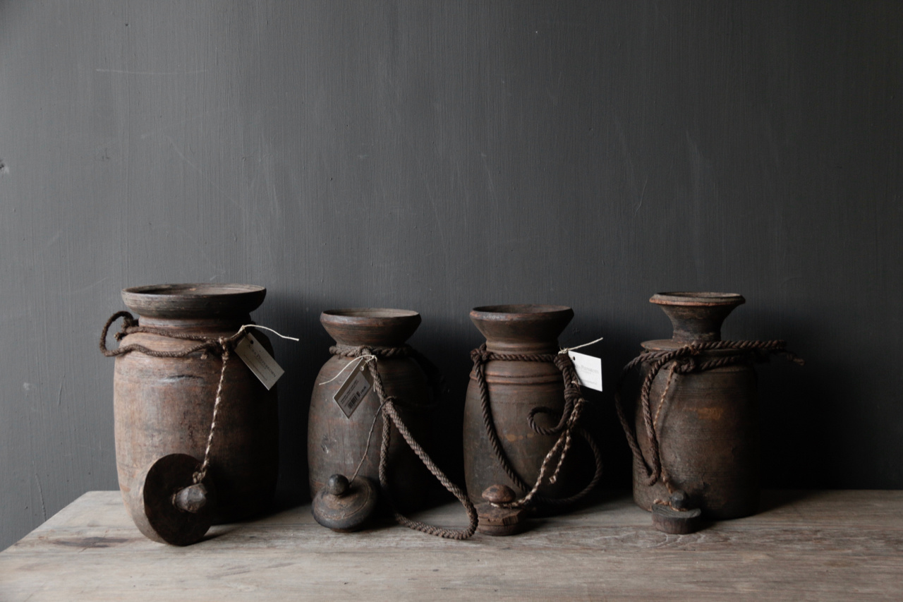 Old wooden Nepalese Jugs-3