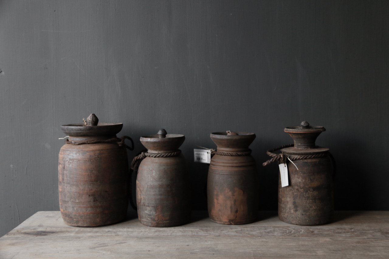 Old wooden Nepalese Jugs-4