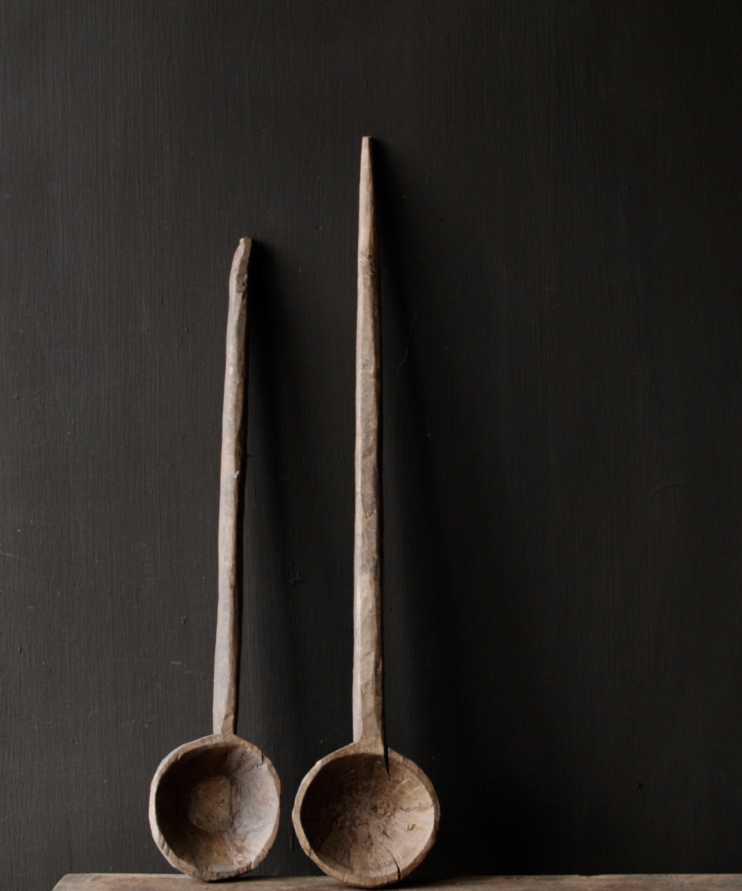 Set of two wooden Nepalese spoons-3