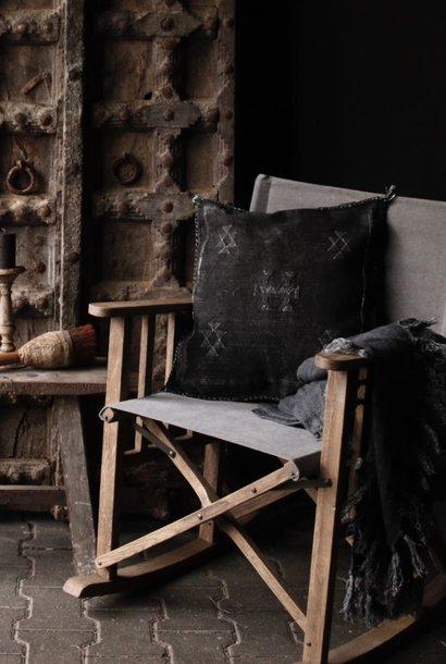 Regisseur schommelstoel grijs canvas
