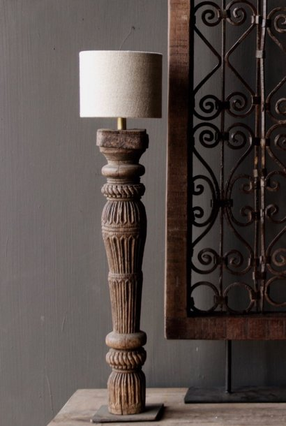 Old Wooden Baluster lamp base on an iron base