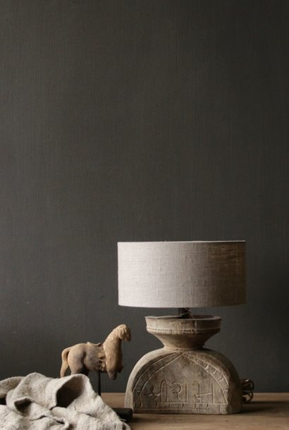 Table lamp of old wooden ornament