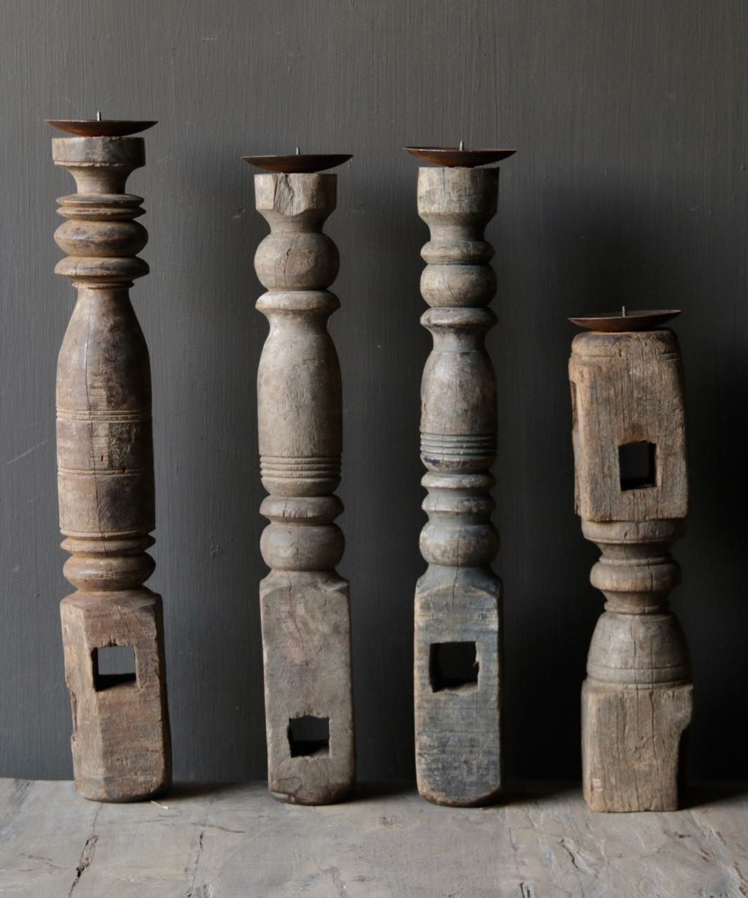 Old wooden Nepalese candlestick-3