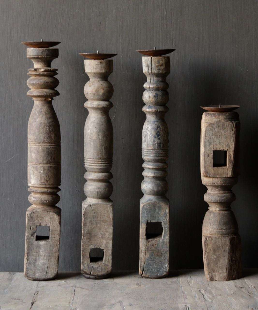 Old wooden Nepalese candlestick-4