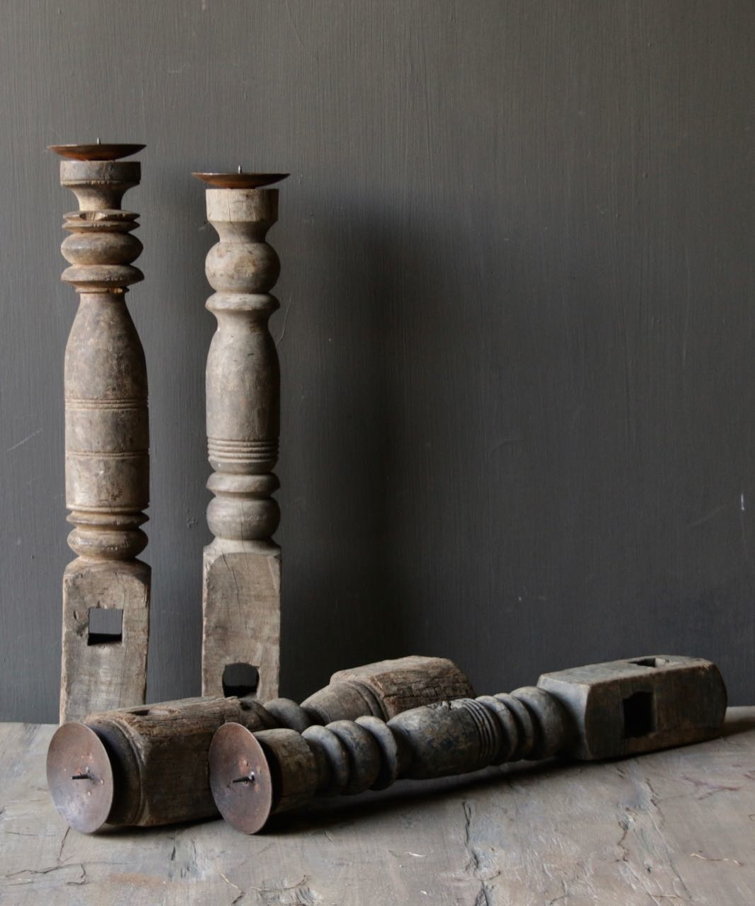 Old wooden Nepalese candlestick-6
