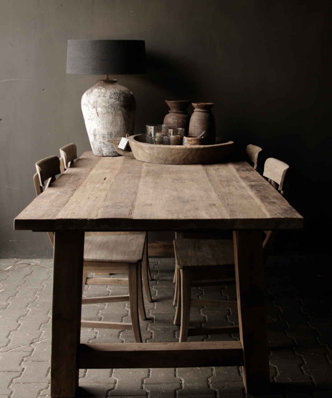 Dining room table old wood A leg-6