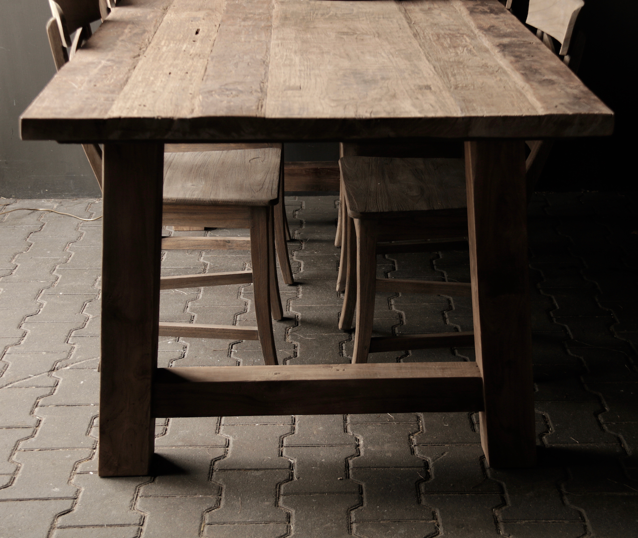 Dining room table old wood A leg-3