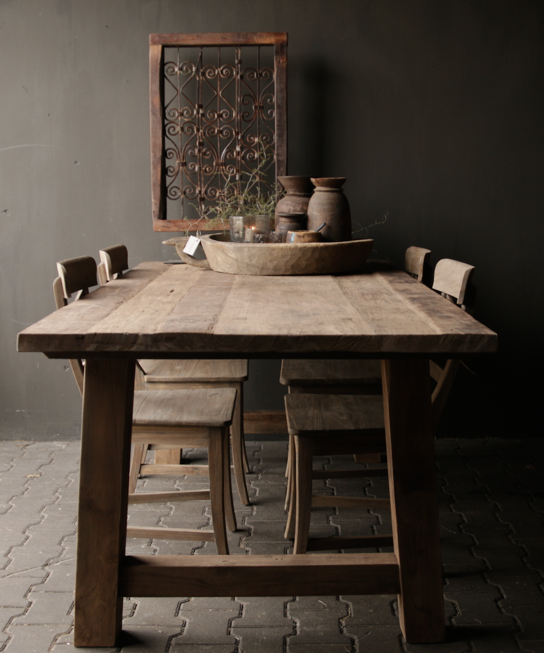Dining room table old wood A leg-5