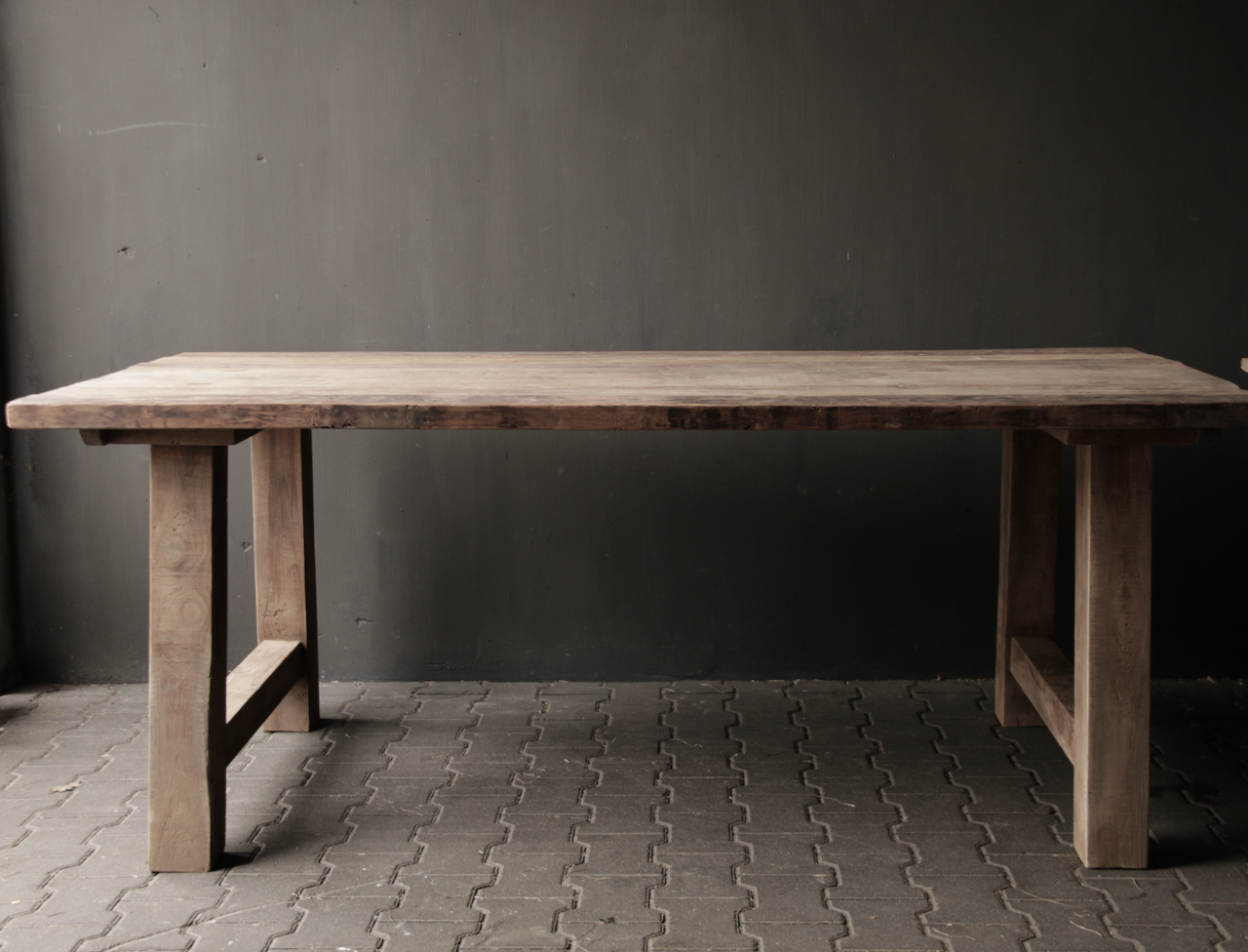 Dining room table old wood A leg-8