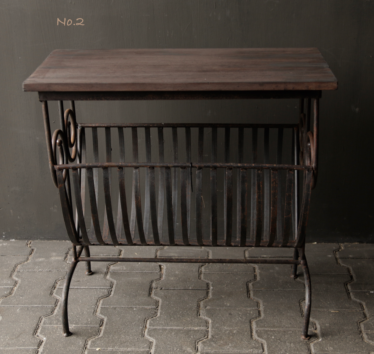 Old iron magazine rack with wooden top-6