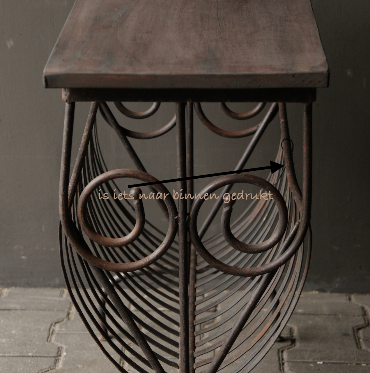 Old iron magazine rack with wooden top-7