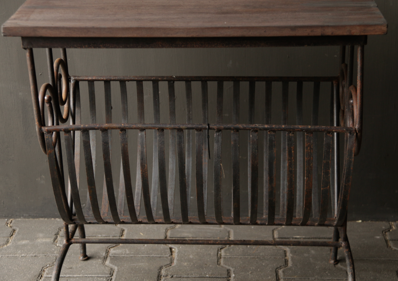 Old iron magazine rack with wooden top-8