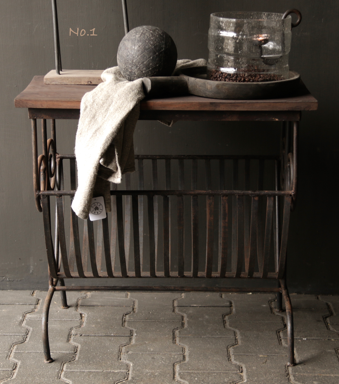 Old iron magazine rack with wooden top-2