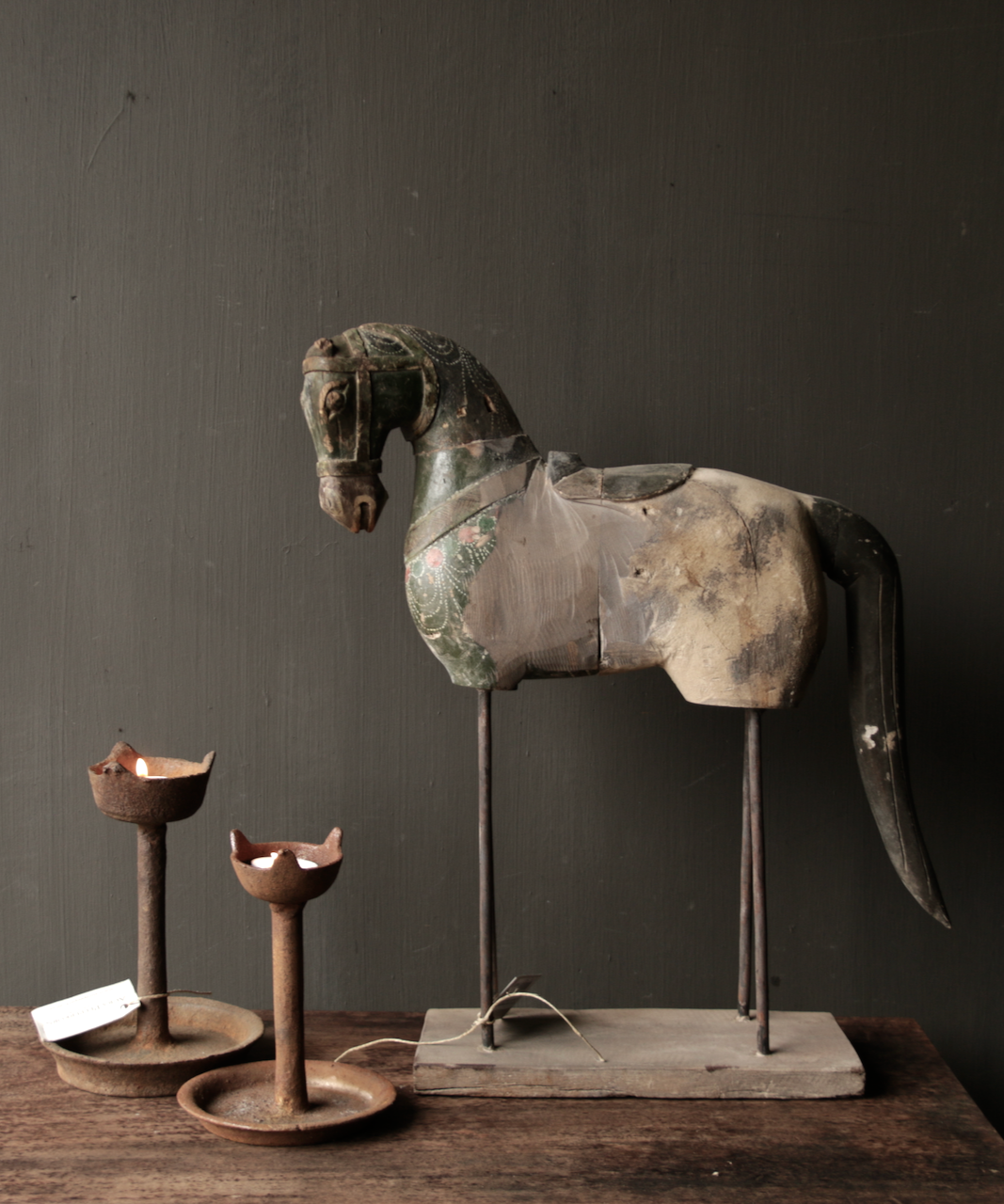 Beautiful old wooden horse on wooden tripod-1