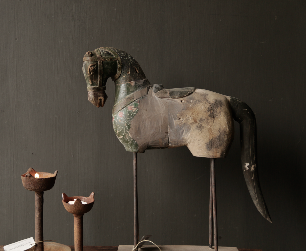 Beautiful old wooden horse on wooden tripod-2