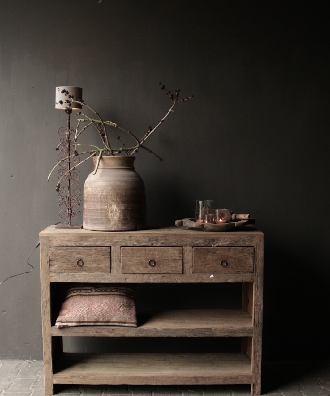 Tough old wooden Console / Sidetable-1