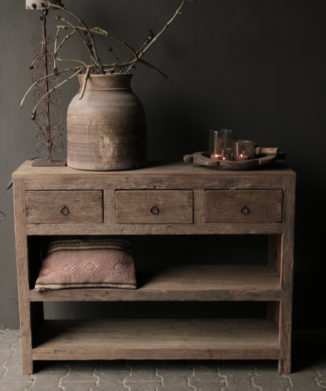 Tough old wooden Console / Sidetable-2