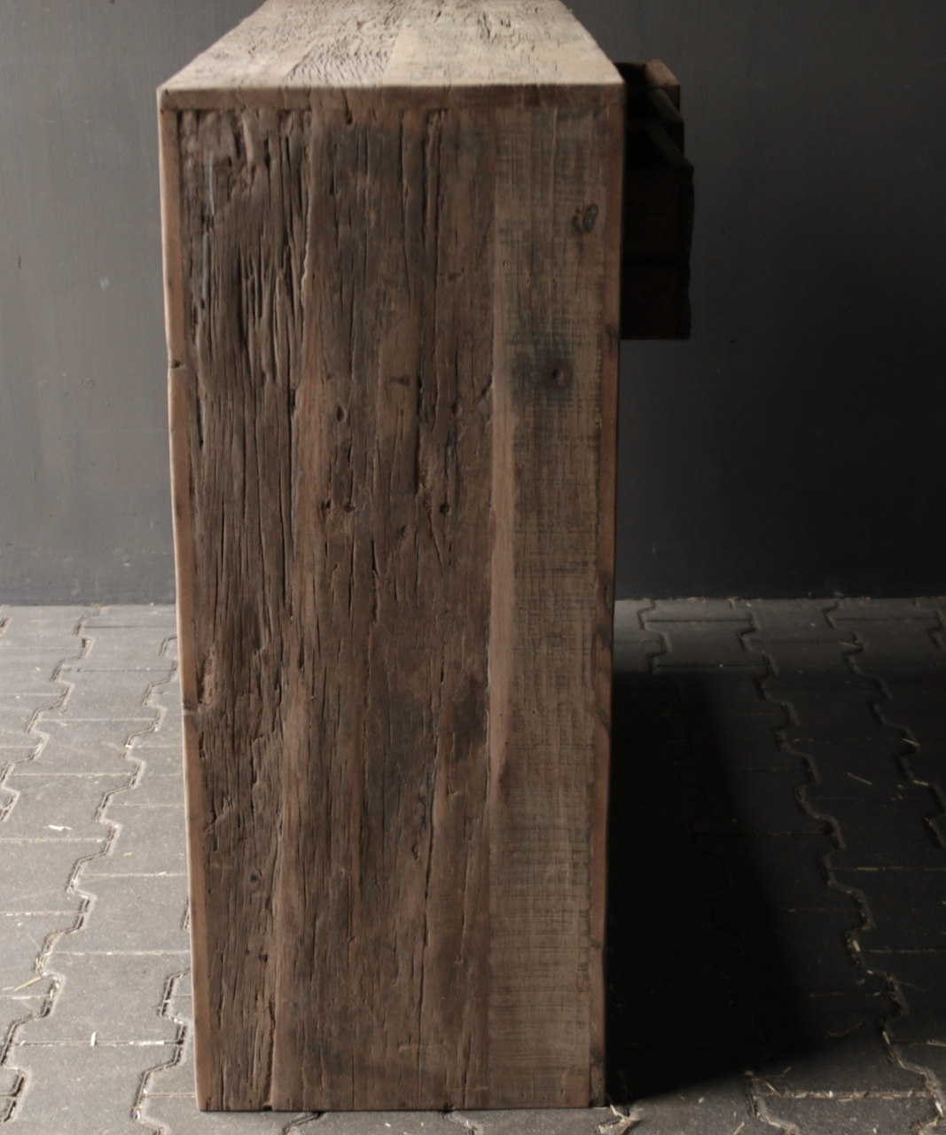 Tough old wooden Console / Sidetable-5
