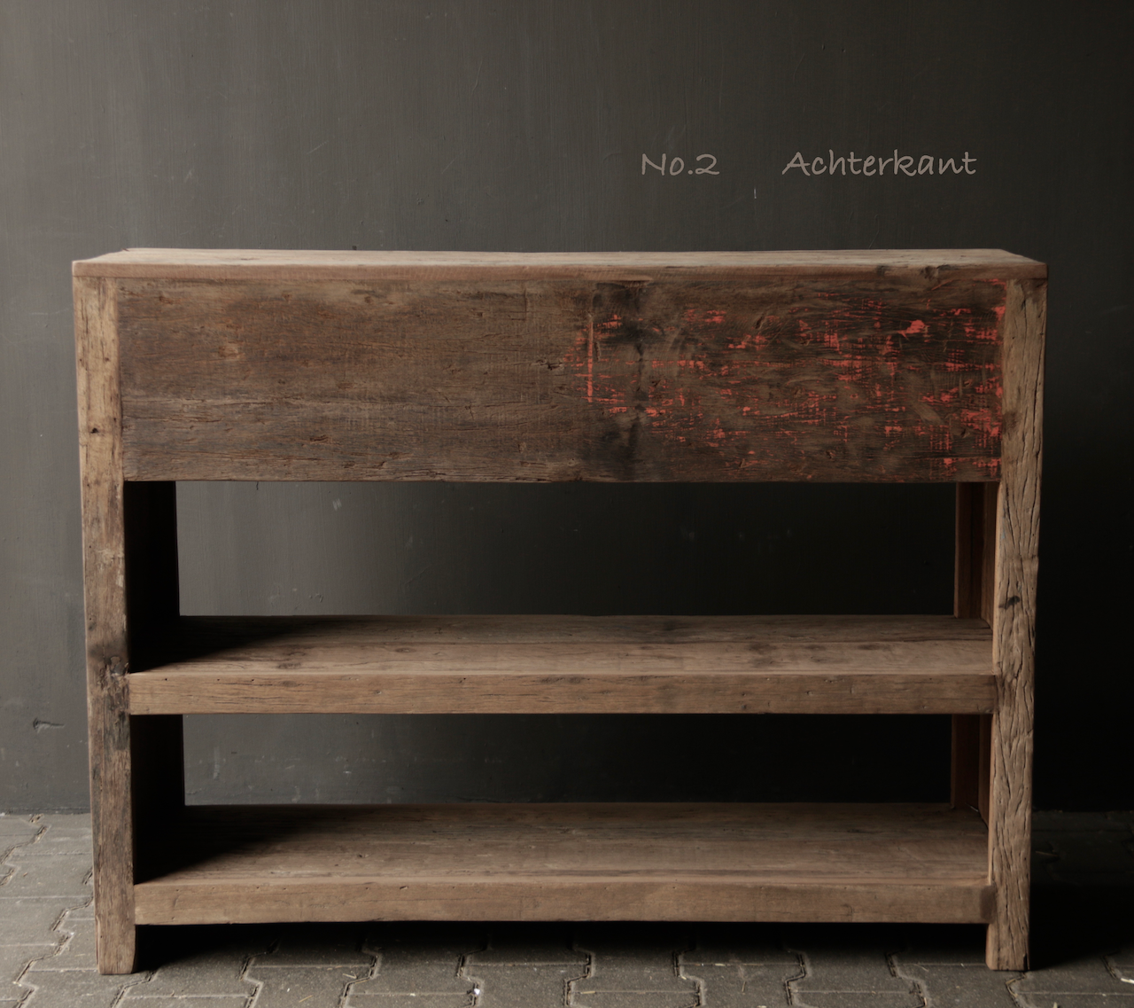 Tough old wooden Console / Sidetable-7