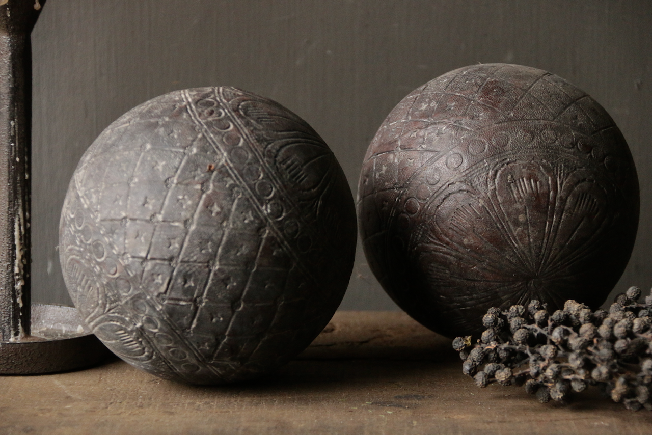 Wooden ball covered with processed leather-2