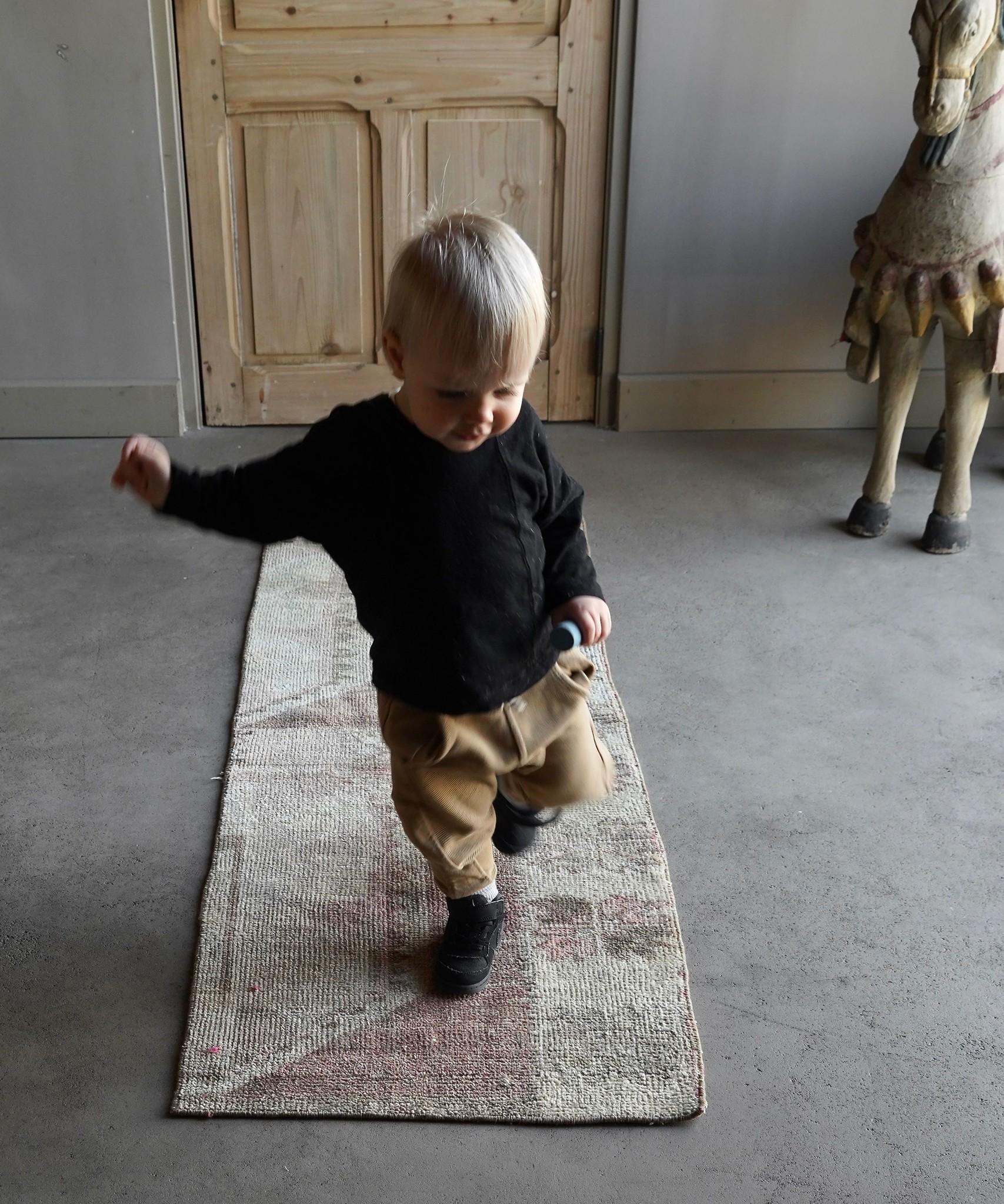 Vintage, handgemachter Woll Kelim Teppich-1