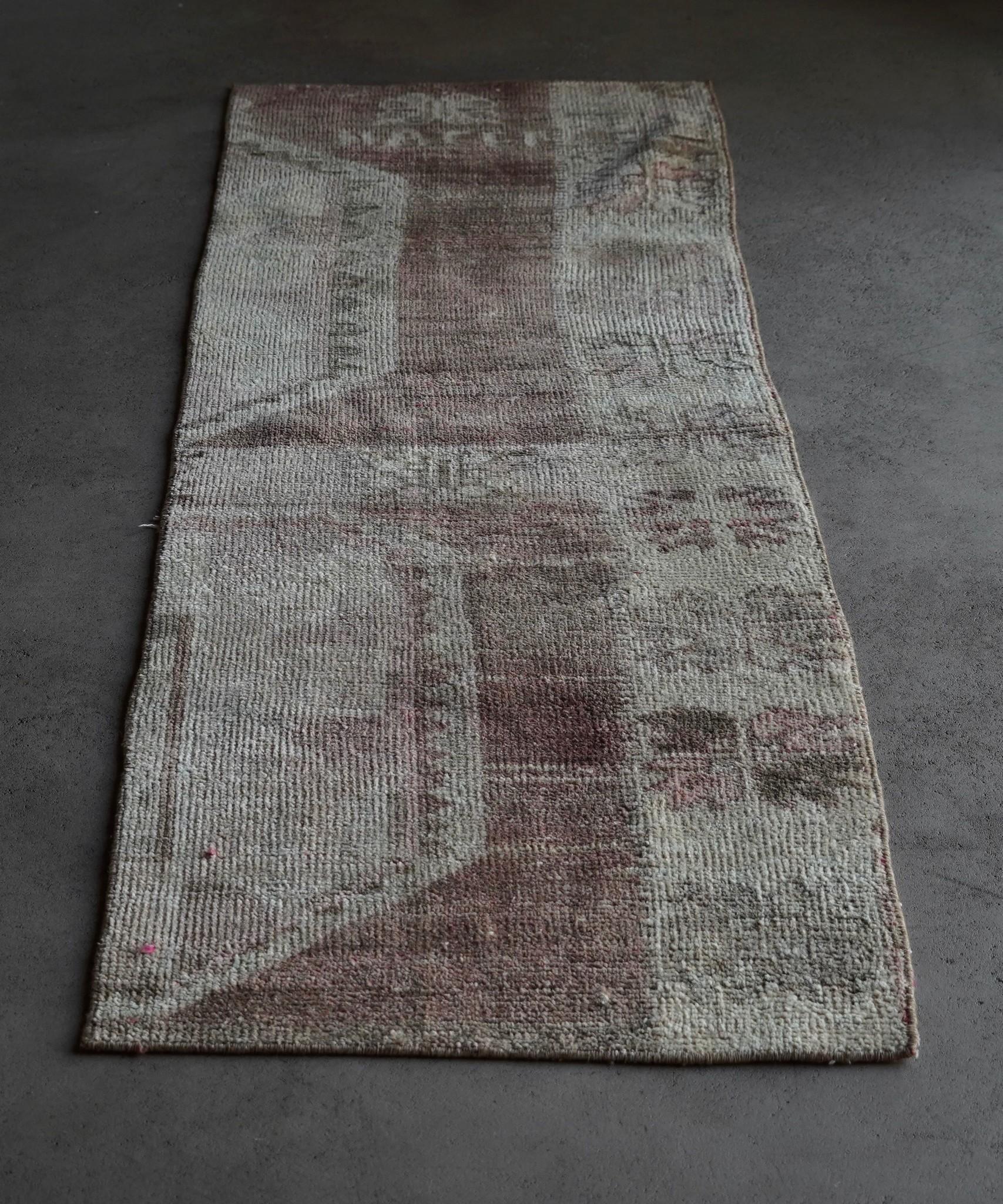 Vintage, handgemachter Woll Kelim Teppich-5