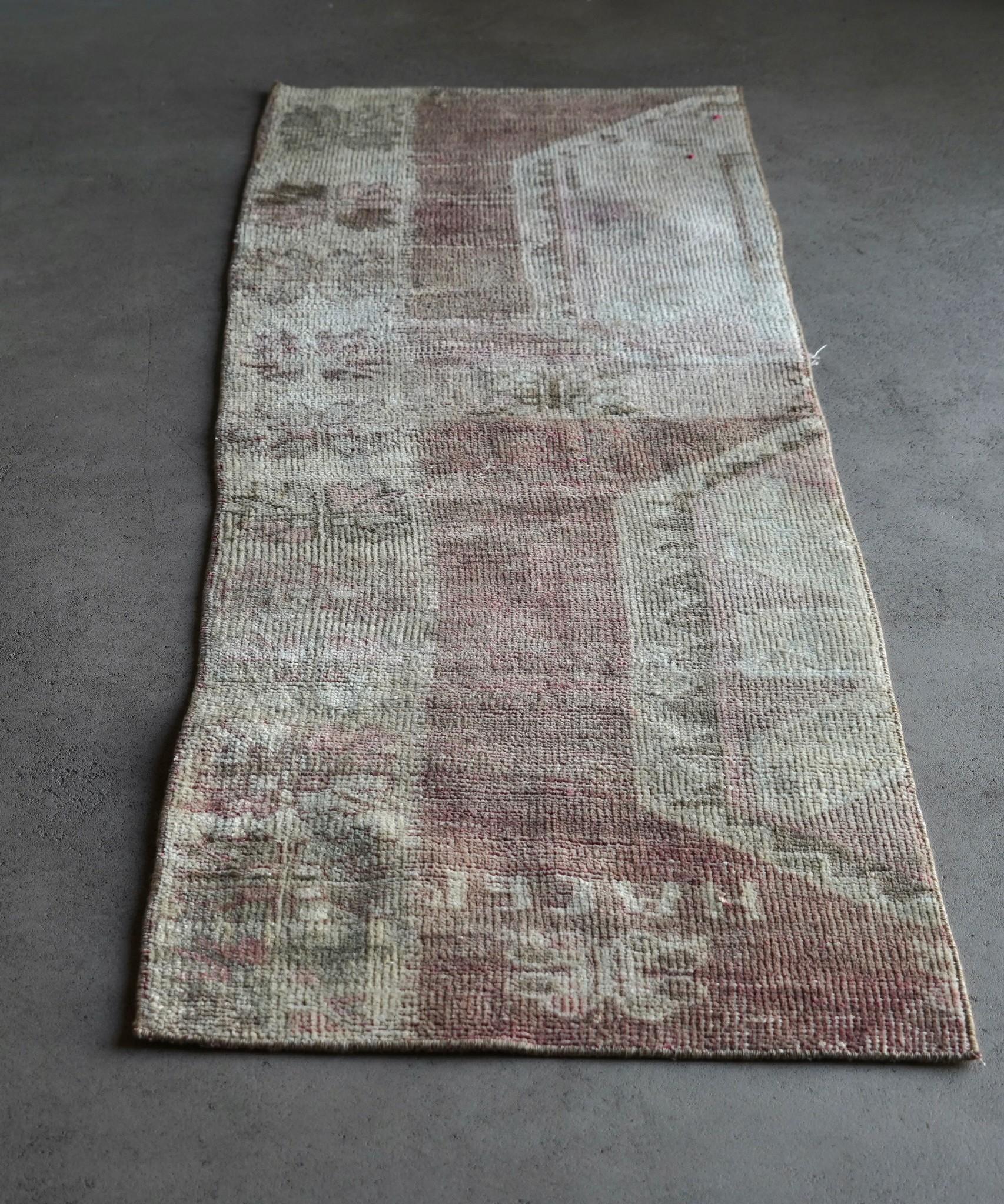 Vintage, handgemachter Woll Kelim Teppich-6