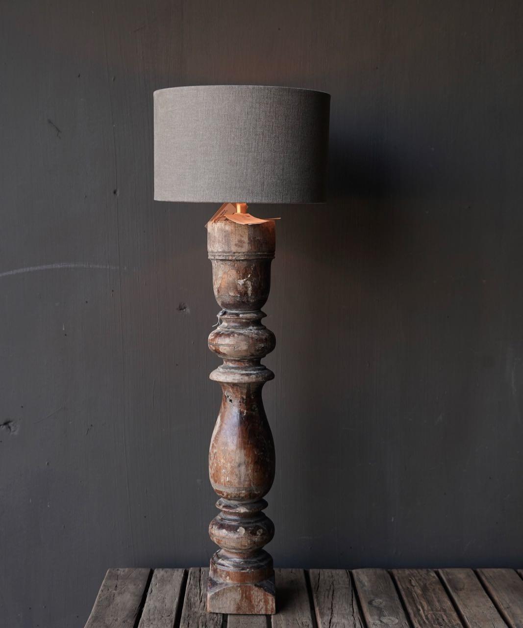 Old Wooden Baluster lamp base-1