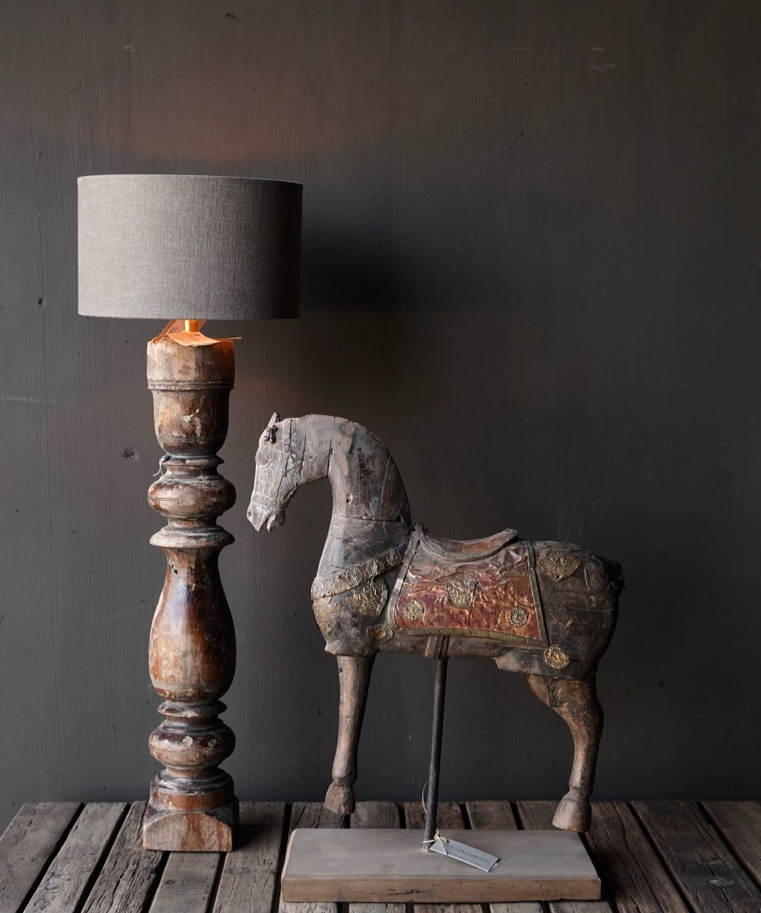 Old Wooden Baluster lamp base-2