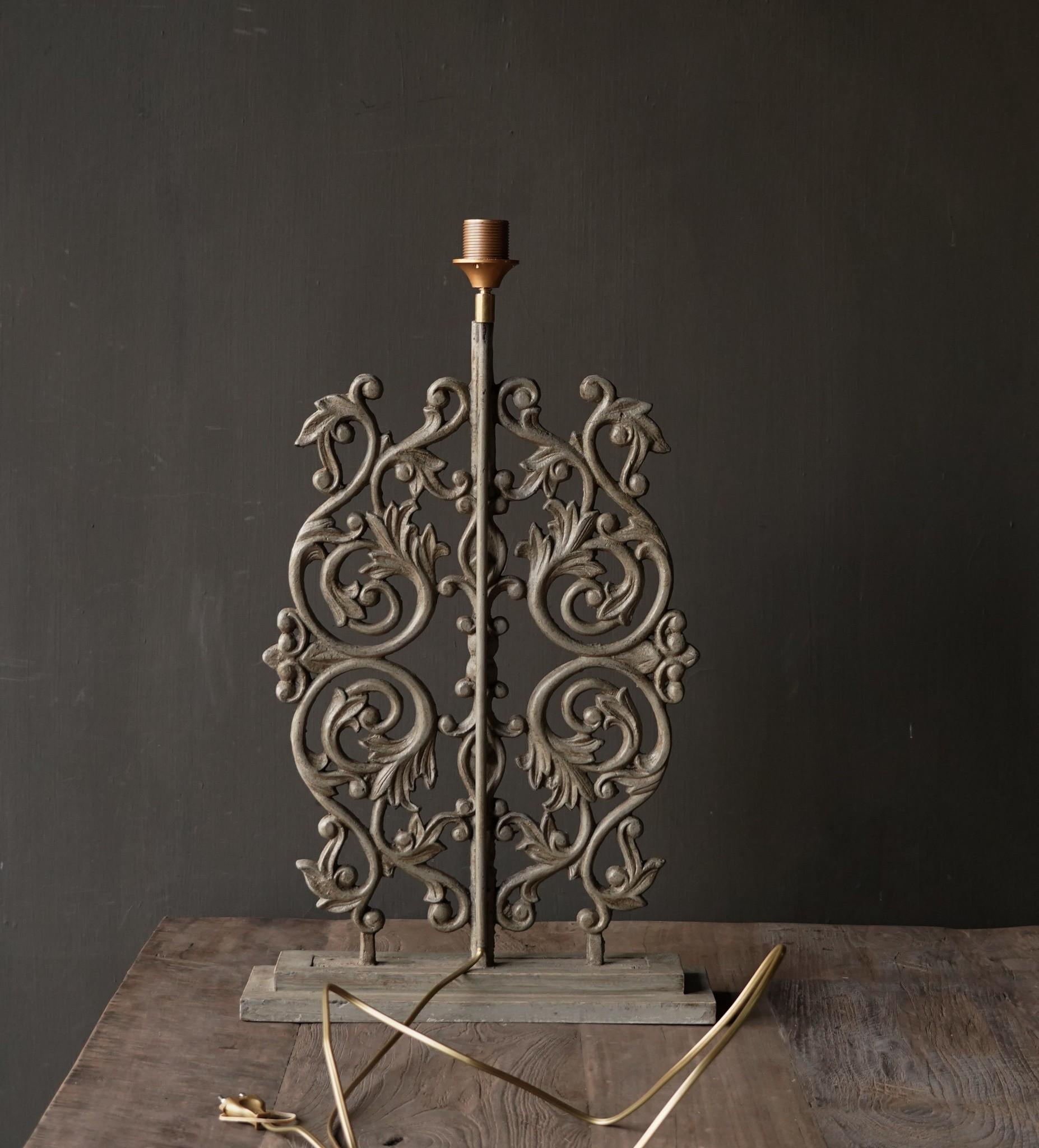 Heavy iron openwork lamp base-4