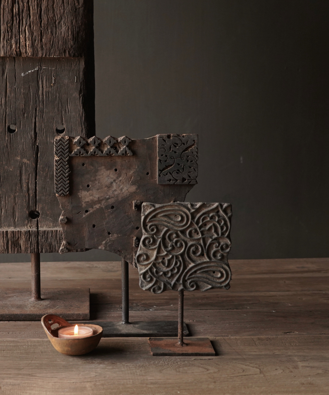 Batikstempel aus Holz auf Eisenbasis-1