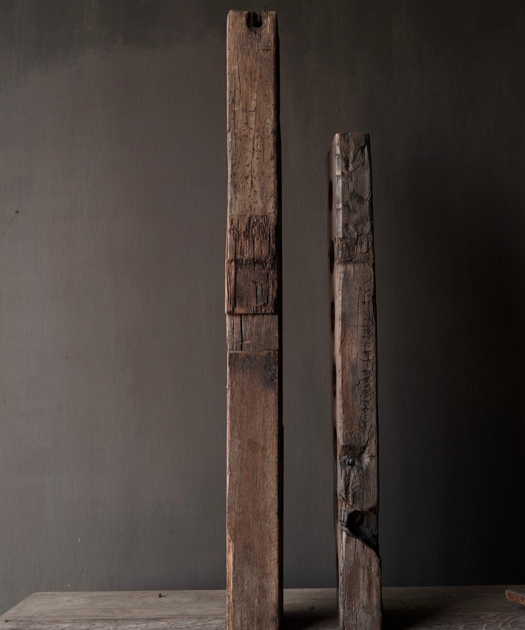 Lang oud driftwood houten waxine licht houder-2