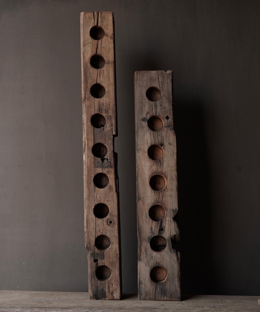 Lang oud driftwood houten waxine licht houder-3
