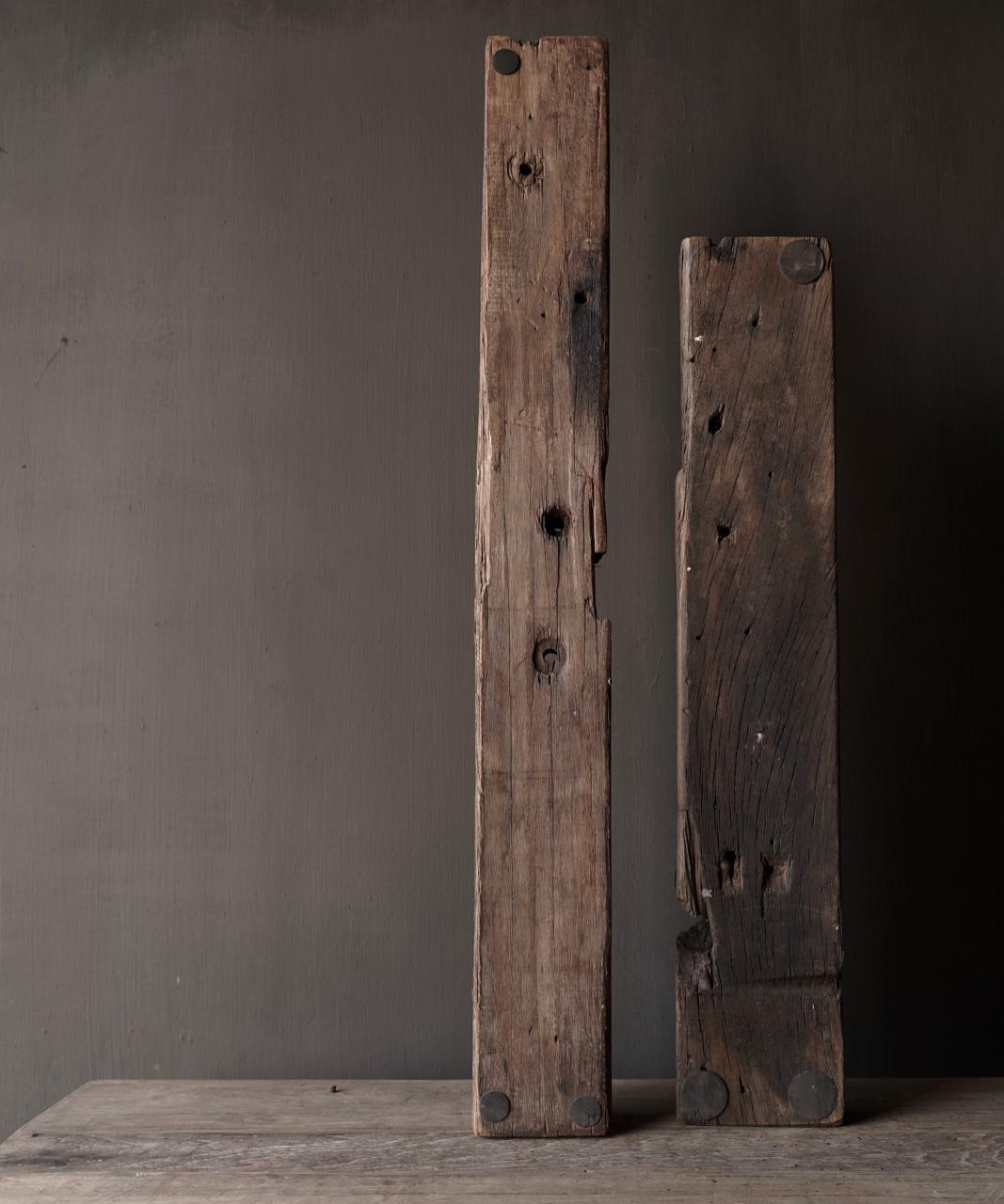 Lang oud driftwood houten waxine licht houder-4